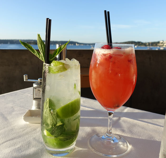 Ruby Raspberry mocktail (Raspberries shaken with rhubarb bitters, pink grapefruit juice, topped with lemonade), $12 and a classic mojito, $24