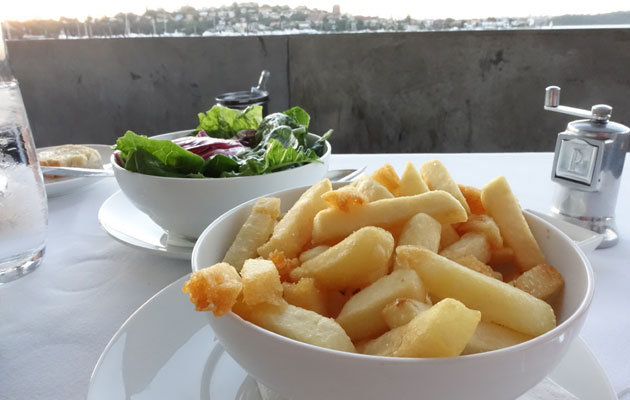 Mixed salad leaves with palm sugar dressing and chips
