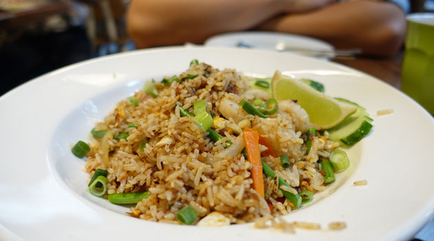 Kao Pad Scallop (Rich and tasty fried rice of scallop with XO sauce, garlic stem and celery), $12.90