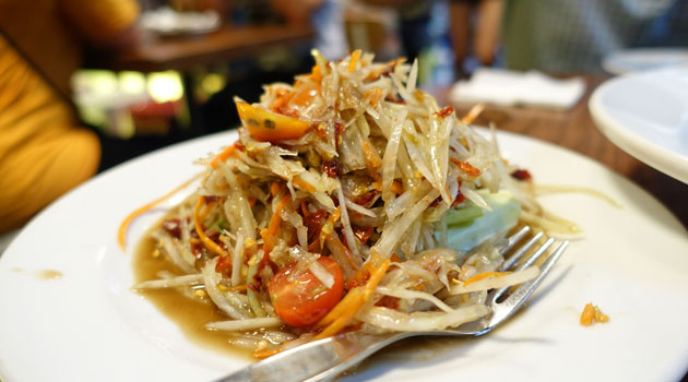 Som Tum Lao (papaya salad with salted crab, fermented fish, eggplant, dried chillis), $9.50