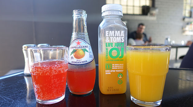 San Pellegrino ($4) and Emma and Toms Juice ($4.20)