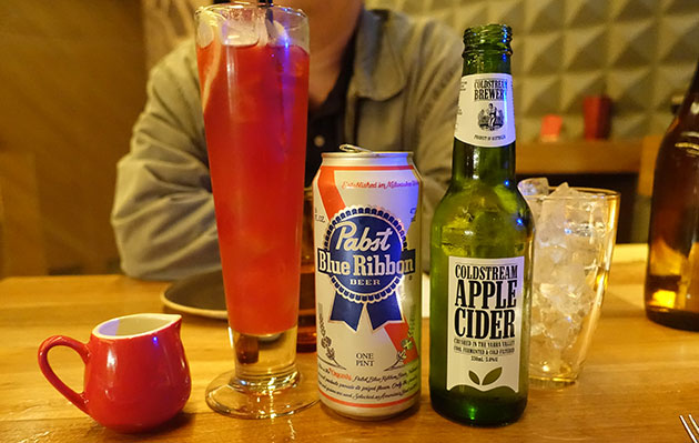 Pabst Blue Ribbon ($9), Coldstream Crushed Apple Cider ($9), Non-Alcohol P.Y. Tea ($9.50).