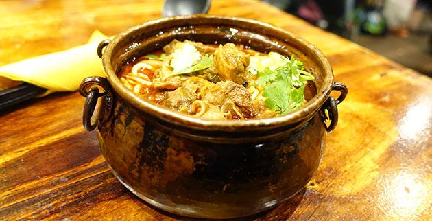 Braised beef mini-pot noodle soup, $9.80