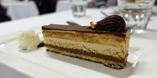 Opera Cake with Lime and Yoghurt Ice