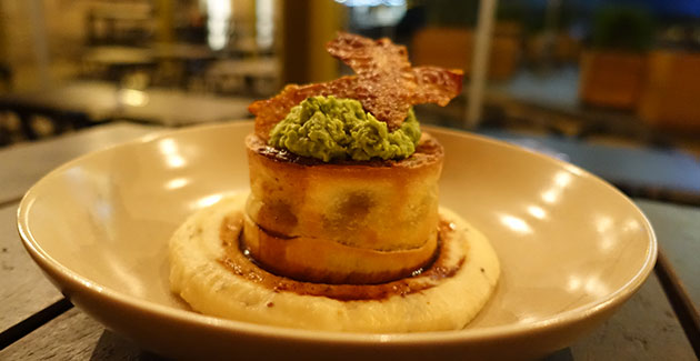 Lamb Shank Pie with mustard mash, crushed peas and gravy, $24