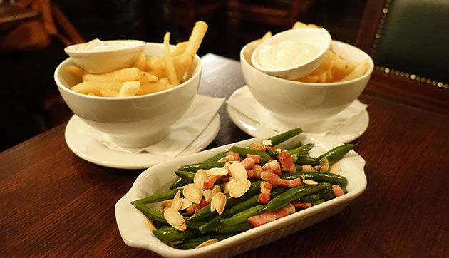 Belgian fries (free with each order of mussels) and French Beans with bacon, almonds, sea salt and olive oil ($8)