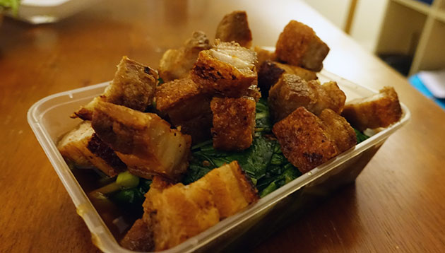 Stir Fried Crispy Pork Belly with Chinese Broccoli, $18
