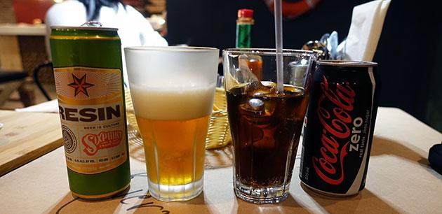 Sixpoint resin beer ($11) and Coke Zero ($5)