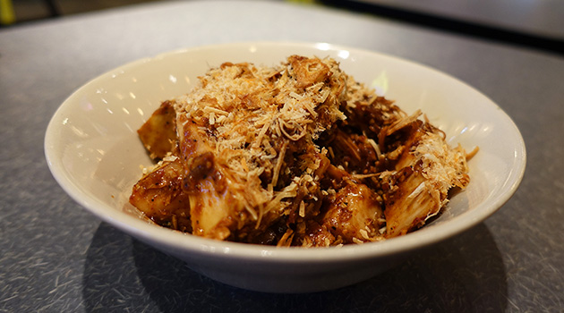 Jackfruit salad (green jackfruit, roasted coconut and chilli jam), $13