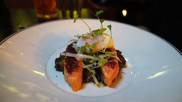 Barely seared sumac ocean trout fillet (lentils & carrots, 64d free range egg, raw green bean, radish and chive salad, served rare at room temperature), $36