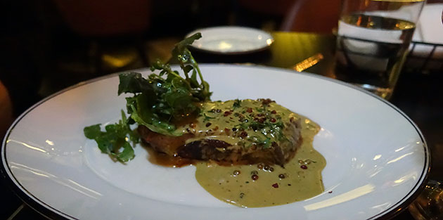 """Pepper """"Steak au Poivre"""" (Angus Hereford, Cape Grim TAS, 250g) with Gowings Red & Green Whole Peppercorn Sauce with Cognac, $38"""