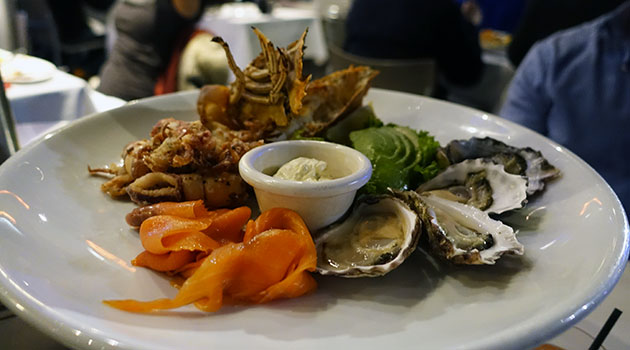 Grilled Moreton Bay Bugs, Sydney Rock Oysters, Salt & Pepper Calamari and Tasmanian Smoked Salmon complimented with Avocado and Creme Fraiche