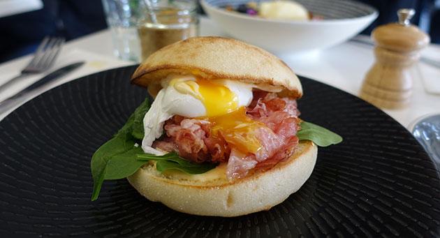 Bacon Sandwich (smoked pork belly, poached egg, sirachi aioli), $11