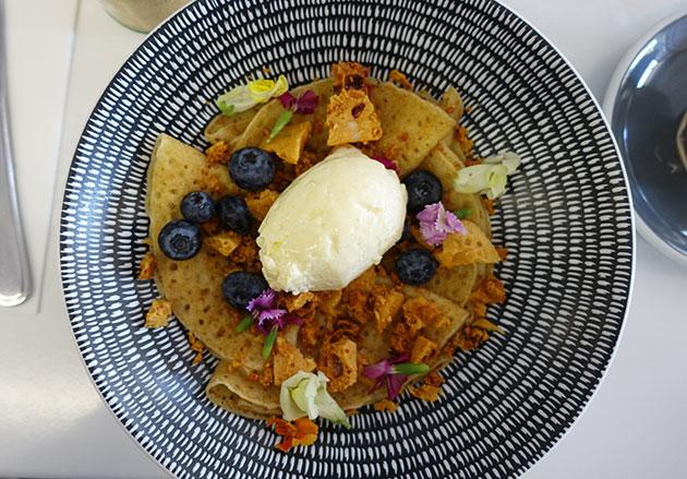 Honeycomb Crepes (Gluten free crepes, honeycomb cream), $14