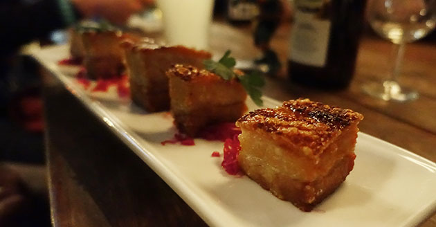 Crispy pork belly bites with burnt orange and cardamom glaze, $16