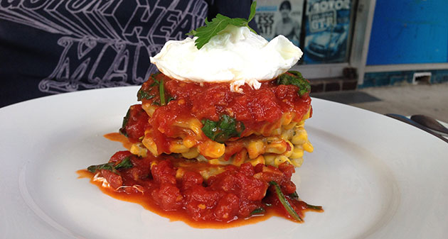 Corn fritters with tomato chutney and a poached egg