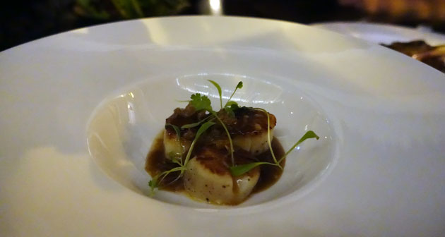 Sea Scallops with Shio Koji sauce, wood ear mushroom and coriander