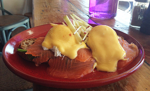 Eggs Benedict with smoked salmon on toast ($15)