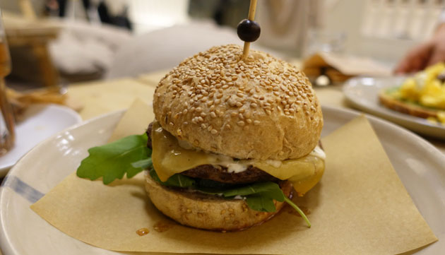 CT;s beef burger Royale with cheese ($9.50EU)