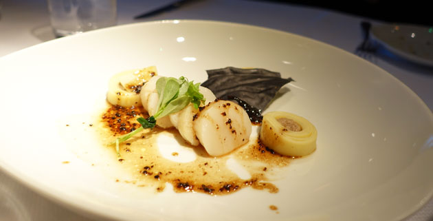 Scallops with tagliatelle, creme of mushroom and summer truffle (supplement required)