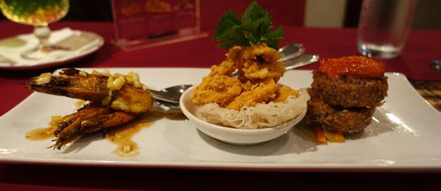 Enak KL Appetiser Tasting Menu (Cumi-Cumi Garing, Udang Bakar, and Pergedef), $32RM