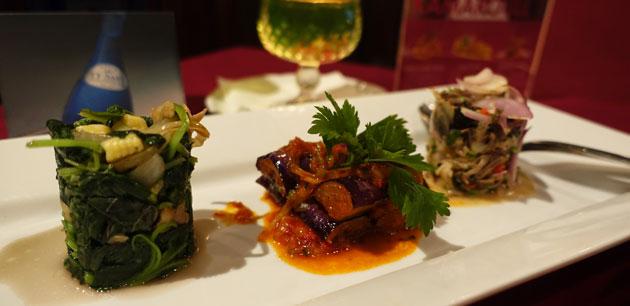 Enak KL Vegetable Tasting Menu (Bayam Goreng Kampung, Kerabu Jantung Pisang, and Terong Balado), $24RM