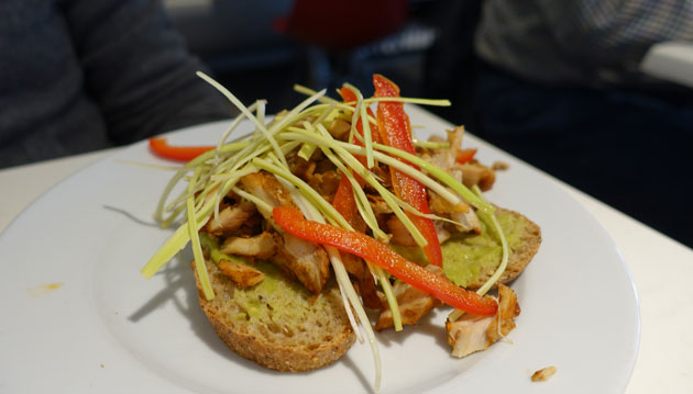 Chicken, avocado, leek and paprika sandwich, $8.50EU