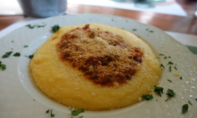 Polenta with broccoli bolognaise