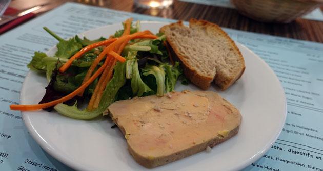 Mon Canard midday menu ($14.90 Euro) First course Homemade Tender Foie Gras (extra $1 Euro)