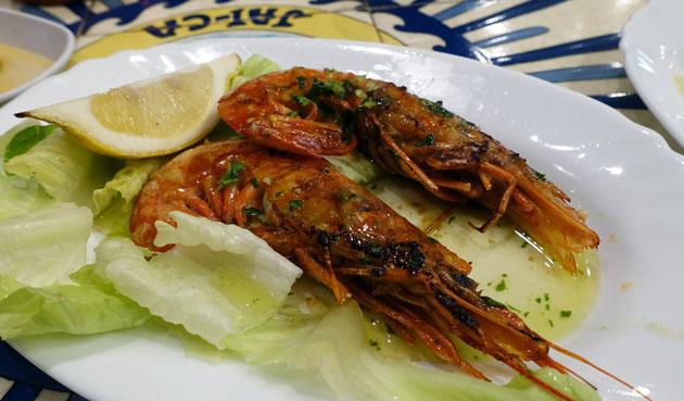 Grilled prawns, 4 Euro