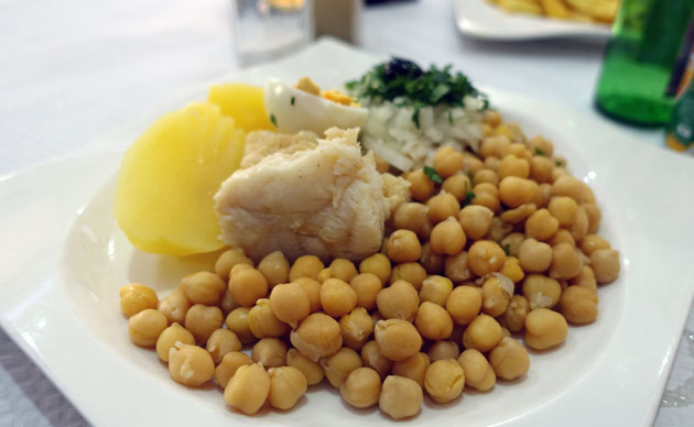 Bacalau with chickpeas, $6.50 Euro