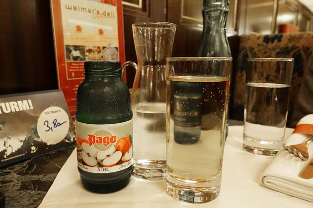 Apfelsaft gespritz, 3.60 Euro