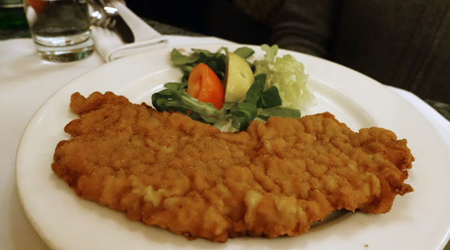 Pork wiener schnitzel served with parsley potatoes, 14.50 Euro