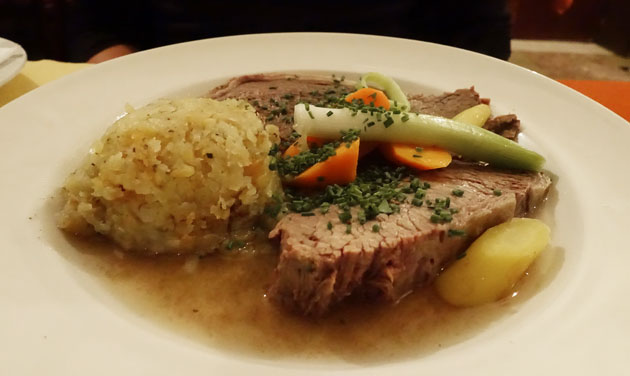 Prime boiled beef with apple-horseradish, chives sauce and rosti, 14.90 Euro