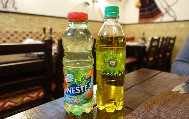 Lemonade and ice tea, 1.60 and 2.80 Bulgarian lev