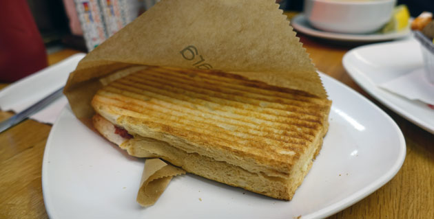 Toast with salami and kasar cheese, 5.50 Turkish Lira