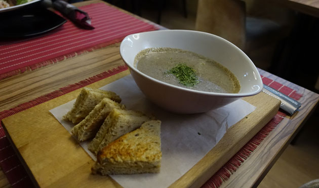 Soup of the Day with toasted gouda sandwich, 220 Serbian Dinar