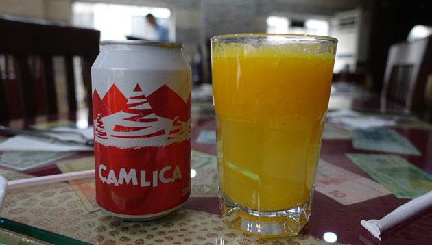 Camlica and Fresh Orange Juice (3 and 7 Turkish Lira)
