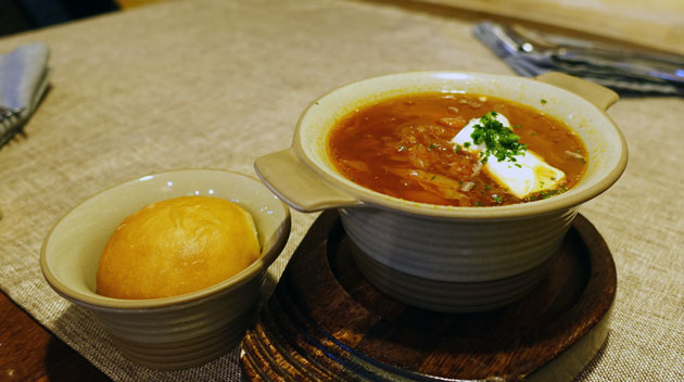 Ukrainian Borscht with pie