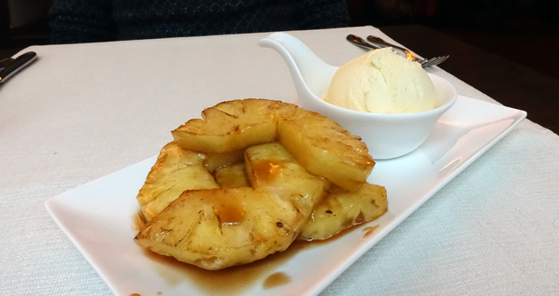 Fried fresh pineapple with palm sugar and ice-cream, 38 Croatian Kuna