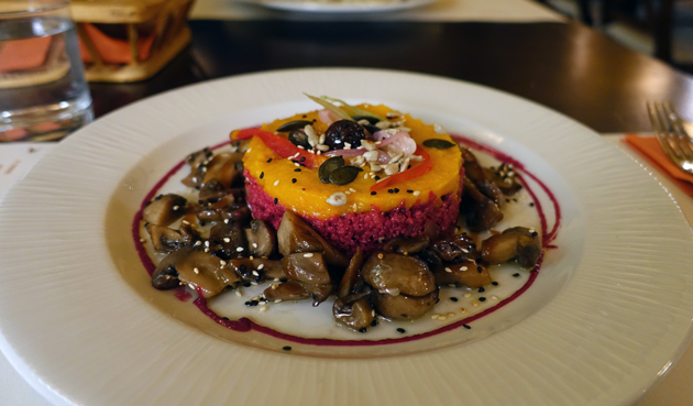 Cous Cous Clan (cous cous and beetroot salad, hemp seeds, cashews, mashed pumpkin, roasted mushrooms), 46 Croatian Kuna