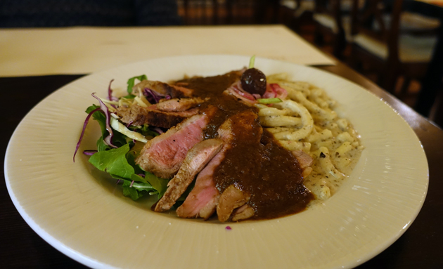 Smoked Duck Breast with Homemade Pasta in Truffle Sauce, 100 Croatian Kuna