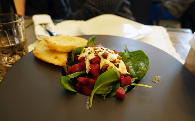 Aromatic beetroot and pumpkin salad with roasted baguette and blue cheese dressing, 40 Croatian Kuna