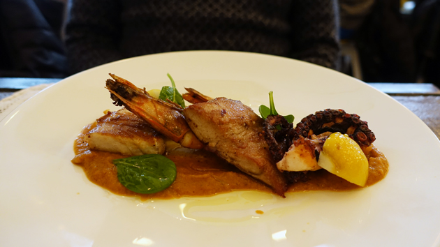 From sea to the plate: Adriatic Tuna, Tiger Prawn and Octopus on Eggplant Cream, 125 Croatian Kuna