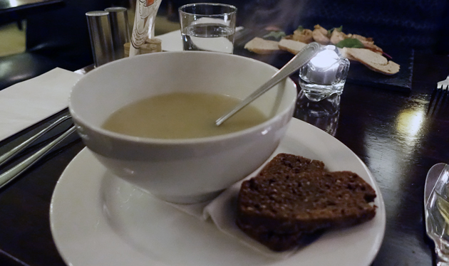 Soup of the Day (creamy roasted garlic and potato) with home-made Guinness bread