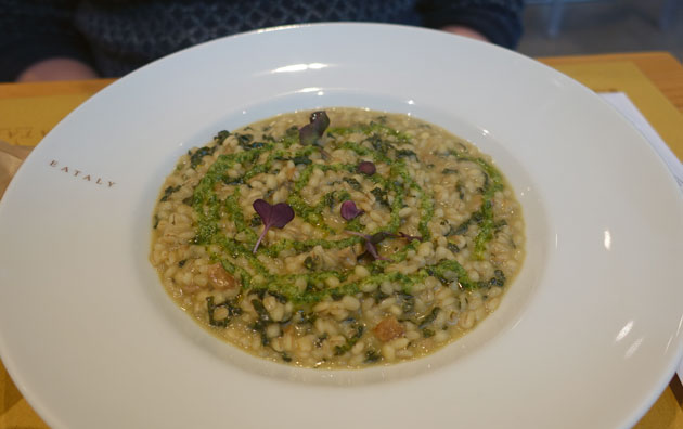 Orzotto Risottato of La Valletta barley with black cabbage, dry porcini mushrooms and parsley, 11.50 Euro