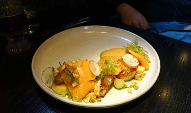 Arctic Char (slowly cooked Artic Char and fried Icelandic lobster, scallops & beer glazed artichokes & apple globes, dill vinaigrette and beer foam), 2790 Icelandic Krona