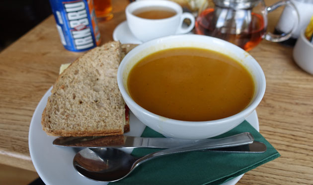 Carrot and coriander soup with a pesto, grilled red pepper, tomatoes and Monterey Jack cheese sandwich, 7.25 GBP