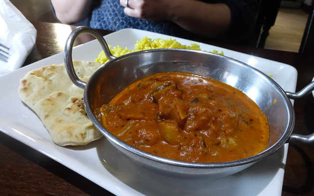 Punjabi Style Vegetable Marsala (peppers, aubergine and potato is a mildly spiced marsala sauce, served with pilau rice and a poppadom), 8.29 GBP