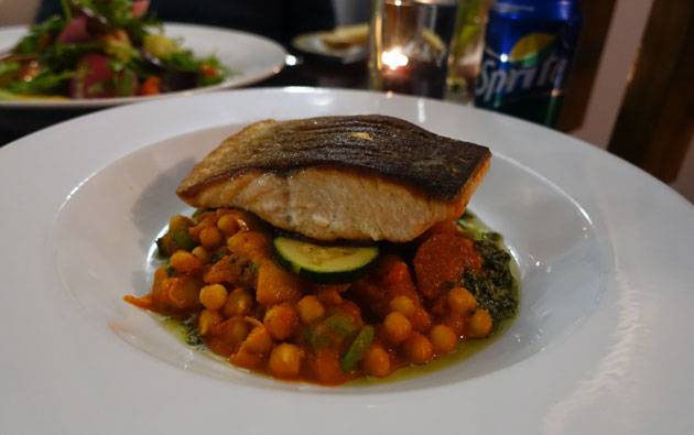 Roast Loch Duart Salmon, chorizo, chick peas, courgettes, tomatoes and salsa verde, 14 GBP